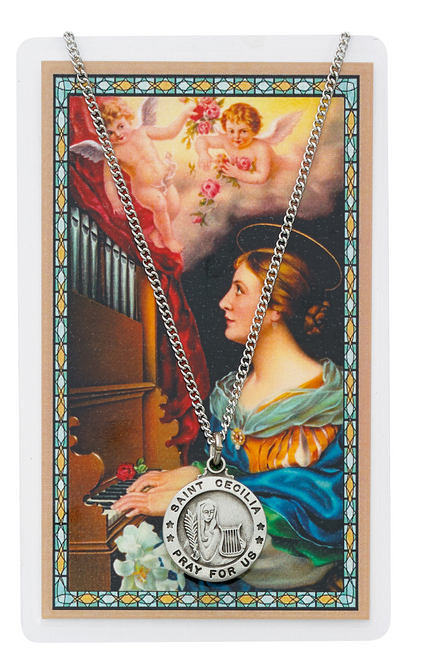 St. Cecilia Medal, Necklace, and Prayer Card Set