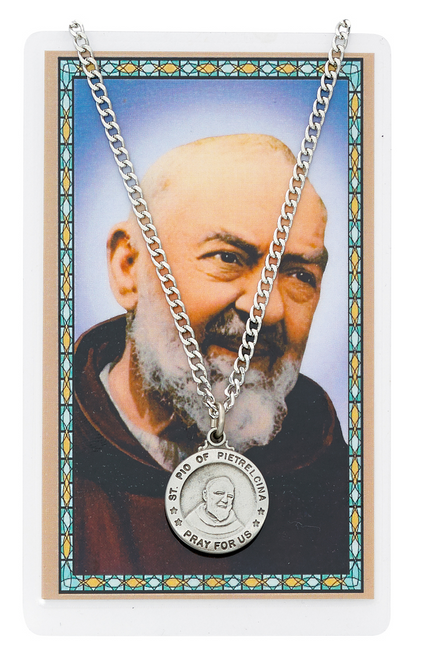 St. Padre Pio of Pietrelcina Medal, Necklace, and Prayer Card Set