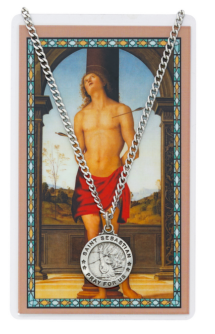 St. Sebastian Medal, Necklace, and Prayer Card Set