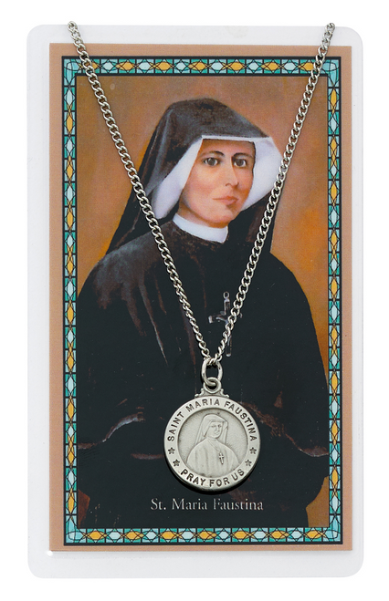 St. Maria Faustina Medal, Necklace, and Prayer Card Set