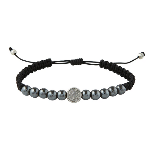Hematite Rule of St. Benedict Corded Bracelet