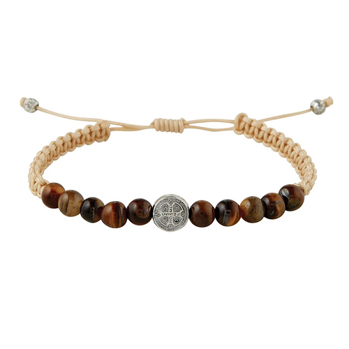 Tiger Eye Rule of St. Benedict Corded Prayer Bracelet