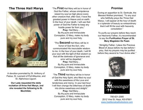The Three Hail Marys Devotion Tri-Fold Holy Card