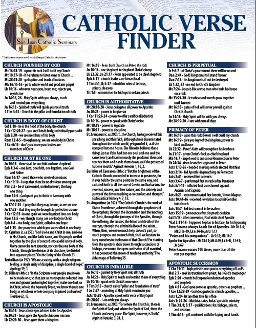 Catholic Bible Verse Finder - A Good Start To Catholic Apolgetics! San Juan Catholic Seminar's most popular item is now new and improved! The Catholic Verse Finder is full color, 4-page, Fold Out featuring Common Catholic Topics and how to Explain and Defend them using the Bible.