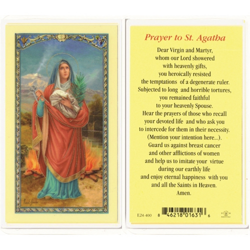 Prayer to St. Agatha Laminated Holy Card
