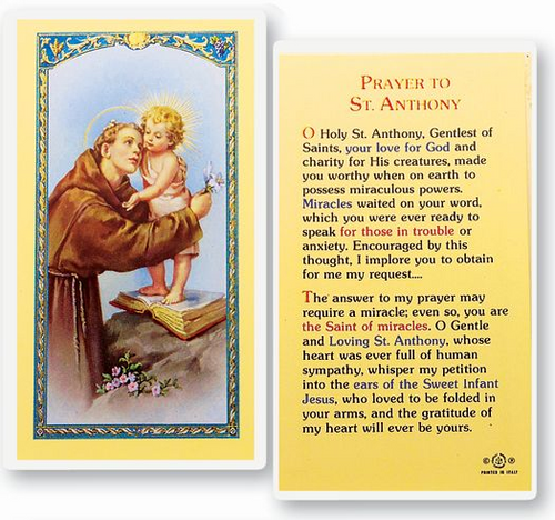 Saint Anthony is the patron saint for animals, the elderly, expectant mothers, infertility, lost articles, the poor, sailors, the starving, travelers, and unmarried women.