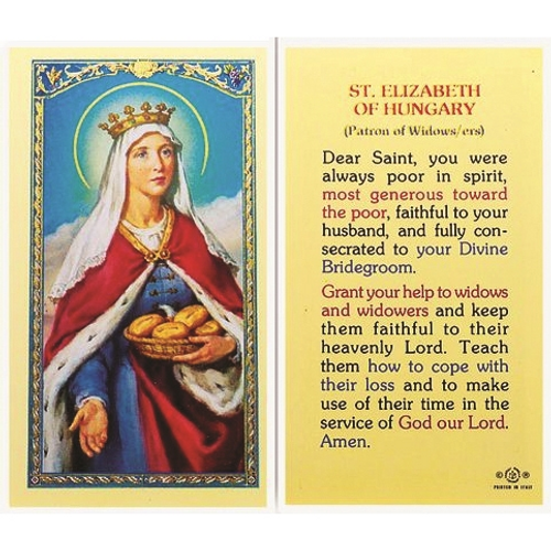 Saint Elizabeth of Hungary is patronessof widows, young brides, nursing services, bakers, and the falsely accused.