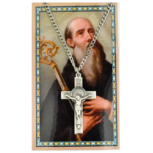 St. Benedict Crucifix Silver Necklace and Prayer Card Set