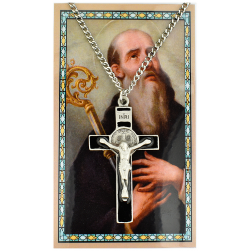 St. Benedict Crucifix Black Enamel Necklace and Prayer Card Set