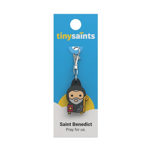 """St. Benedict is known as the founder of Western Monastic life. He was born in Nursia, Italy, in 480 A.D. He studied in Rome and later went to the mountains near Subiaco where he lived as a hermit in a cave for three years. During his time as a hermit, a raven would bring him food to eat.  Many young men heard of the holy life Benedict was leading and wanted to join him. He soon established his first monastery at Monte Cassino, where he wrote the Rule of St. Benedict which guided the monks in their daily living. The monks remained there praying, feeding the poor and teaching school. The motto St. Benedict established for his monks was """"ora et labora"""" (""""pray and work"""").  Feast Day  July 11th   Patronage  Exorcists Poisons Temptation Evil Spirits Socery Storms"""