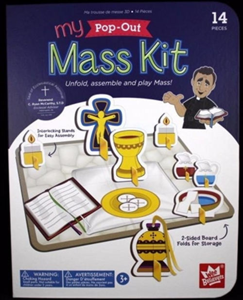 My Pop-Out Mass Kit from Wee Believers  This 14 piece kit allows children to learn about the mass and to imagine being the priest.  Just unfold, assemble and play Mass!  There is a 2-sided board that folds for storage and the rest are cardboard pieces that stand up with a base piece.  The back of the piece names the piece.  Pieces include a crucifix, a chalice, 2 cruets, a ciborium, a monstrance, a paten, finger bowl and towel, 2 candles, a thurible, and hosts.  Included is a detailed insert that describes all the pieces and how they are used.  During this time of not being able to attend Mass, the children can follow along with the priest when watching the streaming of Mass.  Not suitable for children under age 3.
