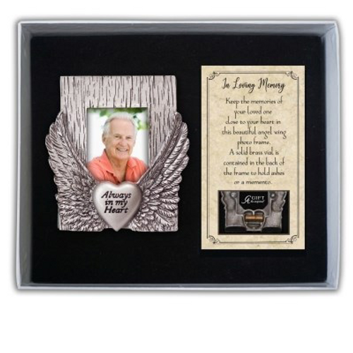 Memorial Always In My Heart Angel Wing Frame Solid Brass Vial Behind Frame for Ashes or Memento