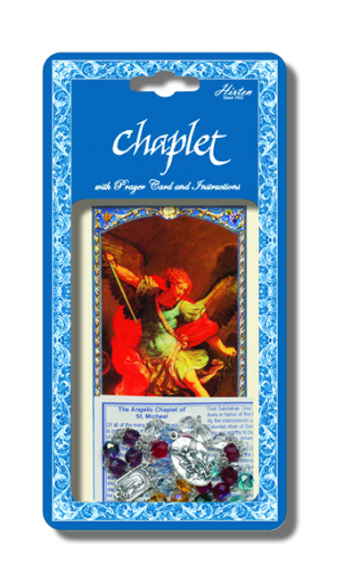 Saint Michael Deluxe Chaplet with Multi Colored Glass Beads Packaged with a Laminated Holy Card