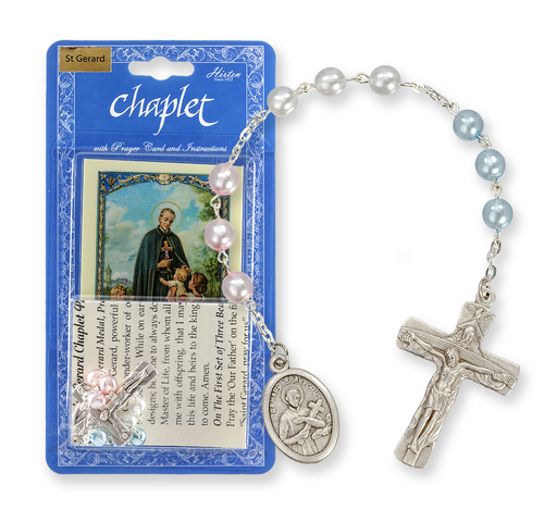 Saint Gerard Chaplet with Multi Colored Beads Packaged with a Laminated Holy Card