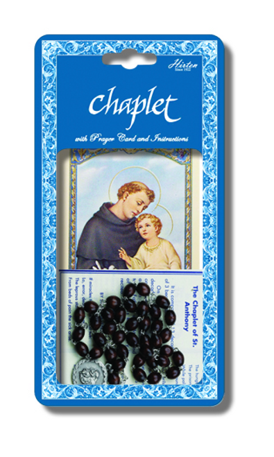 Saint Anthony Deluxe Chaplet with Brown WoodBeads Packaged with a Laminated Holy Card
