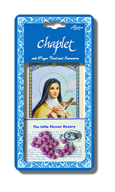 Saint Therese Deluxe Chaplet with Pink Glass Beads Packaged with a Laminated Holy Card