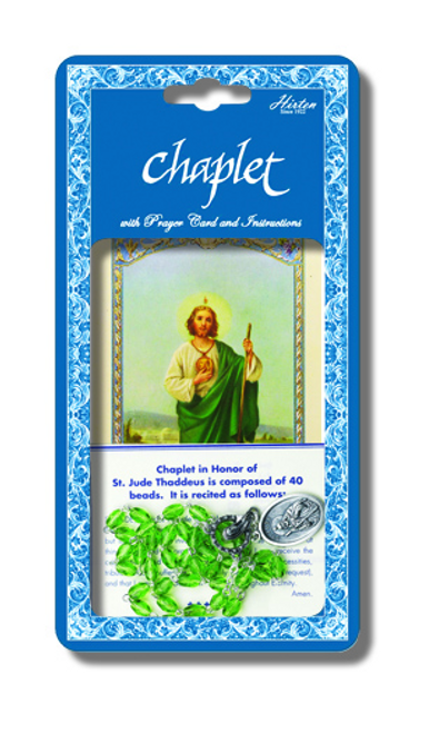 Saint Jude Deluxe Chaplet withGreen Glass Beads Packaged with a Laminated Holy Card