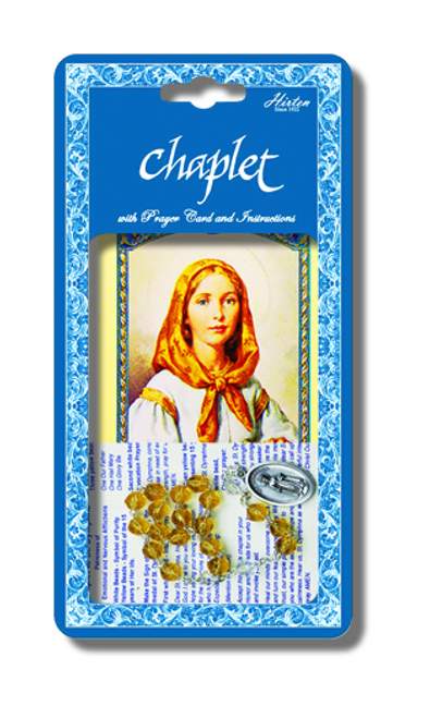 Saint Dymphna Deluxe Chaplet withTopaz Glass Beads Packaged with a Laminated Holy Card
