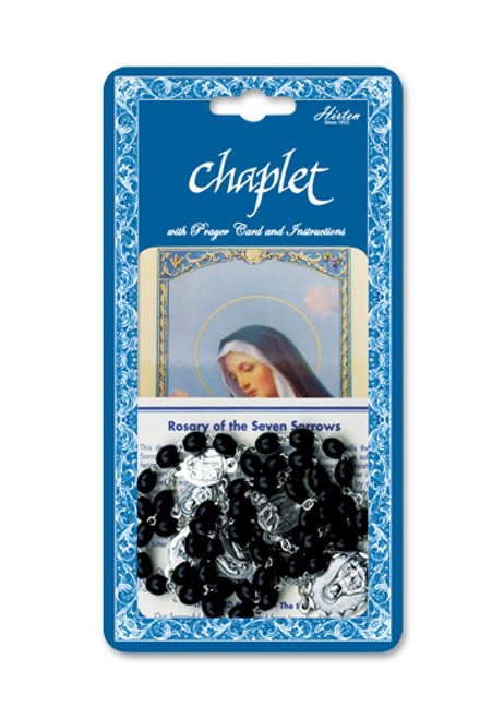 Seven Sorrows Deluxe Chaplet withBlack Wood Beads Packaged with a Laminated Holy Card
