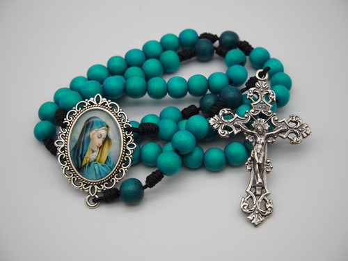 Natural Wood Rosary Sorrowful Mother Mary Handmade High-Quality Strong Rosary: Won't Come Apart Like Traditional Rosaries
