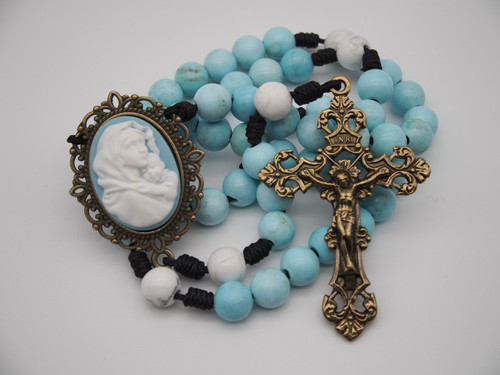 Genuine Gemstone Rosary Cameo Mary and Child Light Blue/White High Quality Strong Rosary Won't Come Apart Like Traditional Rosaries Paracord Cord