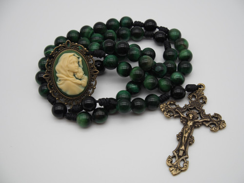 Genuine Gemstone Rosary Cameo Mary and Child Green/Beigh Handmade High Quality Strong Rosary Won't Come Apart Like Traditional RosariesParacord Cord