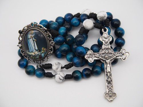 Genuine Gemstone Rosary Our Lady of Fatima Handmade High Quality Strong Rosary Won't Come Apart Like Traditional RosariesParacord Cord 8mm