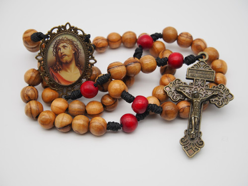 Natural Wood Rosary Sorrowful Jesus Handmade High Quality Strong Rosary Won't Come Apart Like Traditional RosariesParacord Cord 8mm