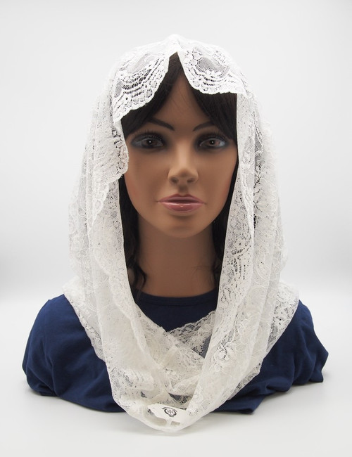 Genuine Italian Lace chapel Veil Handmade In Europe High-Quality Infinity White/Cream Lace