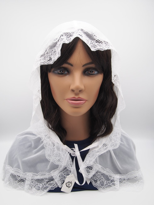 Genuine Italian Lace Chapel Veil Handmade In Europe High-Quality White Sheer With Lace Trim Hood and Tie