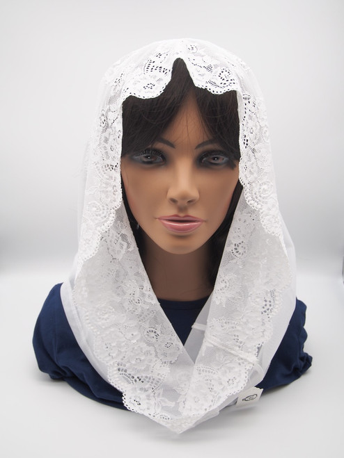 Genuine Italian Lace Chapel Veil Handmade In Europe High-Quality White Sheer With Lace Trim