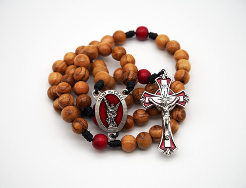 Natural Wood Rosary St. Michael the Archangel Handmade High Quality Strong Rosary Won't Come Apart Like Traditional RosariesParacord Cord 8mm