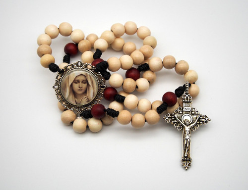 Natural Wood Rosary Dolorous Mary Handmade High Quality Strong Rosary Won't Come Apart Like Traditional RosariesParacord Cord 8mm