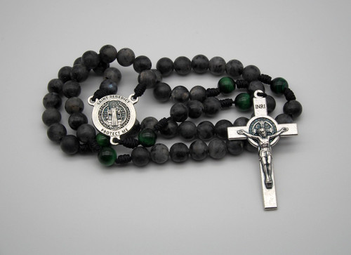 Genuine Gemstone Rosary Silver St. Benedict Handmade High Quality Strong Rosary Won't Come Apart Like Traditional RosariesParacord Cord 8mm