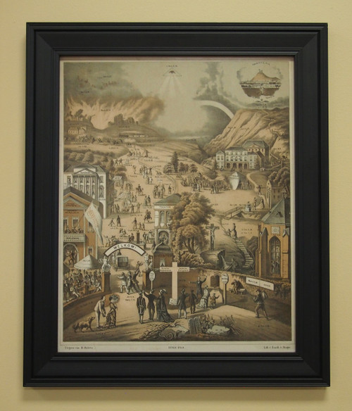 """The Broad and Narrow Way 16"""" x  20"""" Sacred Print (Only) Roaring Lion Prodical Son Hell Heaven Hard Easy Bible Scripture Saint Michael"""