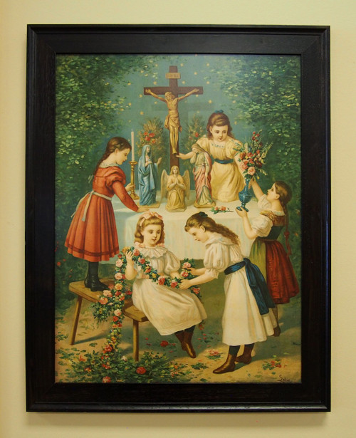"""Love God Above All Things 18"""" x 24"""" Sacred Print (Only) Home Family Model Mass Children Crucifix Passion Play Old Rite Traditional"""