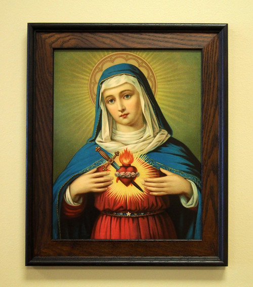 """Immaculate Heart of Mary 11"""" x 14"""" Sacred Print (Only) Our Ladty Sorrows Sword Dagger Jesus Sacred Heart Set"""