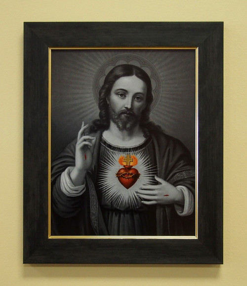 """Sacred Heart of Jesus (Black and White) 11"""" x 14"""" Sacred Print (Only) Passion Wounds Holy"""