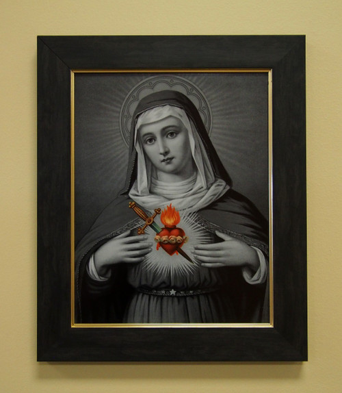 """Immaculate Heart of Mary (Black and White) 11"""" x 14"""" Sacred Print (Only) Our Ladty Sorrows Sword Dagger Jesus Sacred Heart Set"""