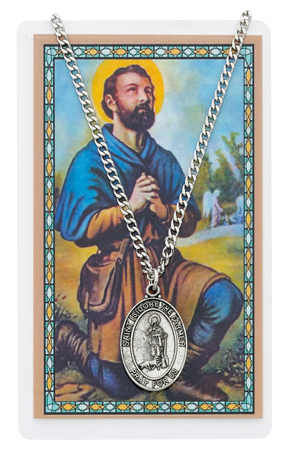 """PEWTER MEDAL WITH 24"""" CHAIN NICKEL CHAIN & LAMINATED HOLY CARD  Prayer to St. Isidore Patron Saint of Farmers Holy Card"""