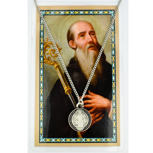 """BLACK ENAMELED PEWTER MEDAL INCLUDES 18"""" SILVERTONE CHAIN & LAMINATED HOLY CARD   Prayer to St. Benedict for Protection Holy Card"""