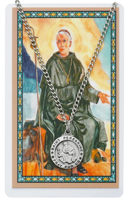 """PEWTER MEDAL INCLUDES 24"""" SILVERTONE CHAIN & LAMINATED HOLY CARD  Prayer to Saint Peregrine for Cancer and Healing Holy Card"""