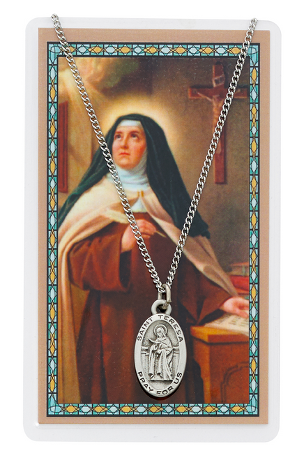 """PEWTER MEDAL INCLUDES 18"""" SILVERTONE CHAIN & LAMINATED HOLY CARD  Prayer of St. Teresa of Avila Holy Card"""