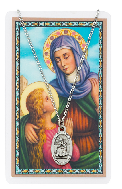 """PEWTER MEDAL INCLUDES 18"""" SILVERTONE CHAIN & LAMINATED HOLY CARD  Prayer to St. Anne of Avila Holy Card"""