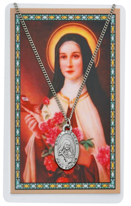 """PEWTER MEDAL INCLUDES 18"""" SILVERTONE CHAIN & LAMINATED HOLY CARD  Prayer to Saint Therese of Lisieux Holy Card"""