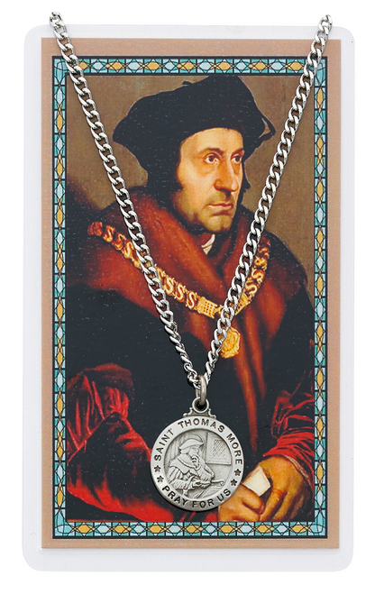 """PEWTER MEDAL INCLUDES 24"""" SILVERTONE CHAIN & LAMINATED HOLY CARD  Prayer to St. Thomas More A Lawyer's Prayer Holy Card"""