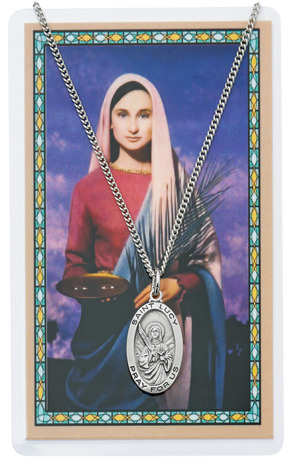 """PEWTER MEDAL INCLUDES 18"""" SILVERTONE CHAIN & LAMINATED HOLY CARD  Prayer to St. Lucy Holy Card"""