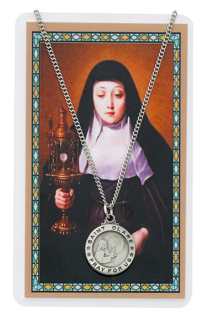 """PEWTER MEDAL INCLUDES 18"""" SILVERTONE CHAIN & LAMINATED HOLY CARD  Prayer to St. Clare of Assisi Medal Holy Card"""