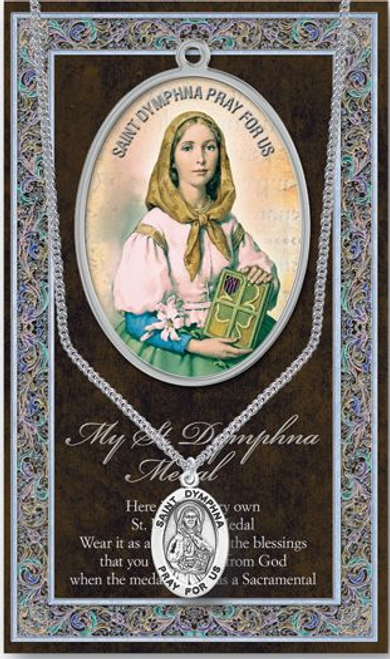 """Saint Dymphna Necklace Set  Genuine Pewter Saint Medal Stainless Steel Chain Silver Embossed Pamphlet with Patron Saint Information and Prayer Included  Lists Biography/History, and gives the Patron Attributes, Feast Day and Appropriate Prayer. (3.25""""x 5.5"""")"""