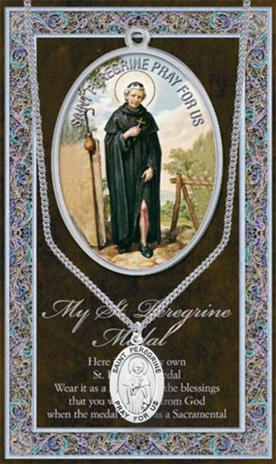 """Saint Peregrine Necklace Set  Genuine Pewter Saint Medal Stainless Steel Chain Silver Embossed Pamphlet with Patron Saint Information and Prayer Included  Lists Biography/History, and gives the Patron Attributes, Feast Day and Appropriate Prayer. (3.25""""x 5.5"""")"""